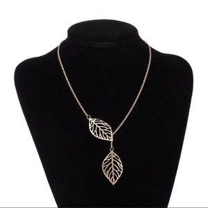 Delicate Double Leaf Gold Necklace